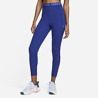 Nike Pro Dri-FIT Glänsande leggings i 7/8-längd med hög midja för kivnnor