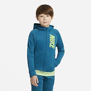 Nike Therma Träningshuvtröja med hel dragkedja och tryck för ungdom (killar)