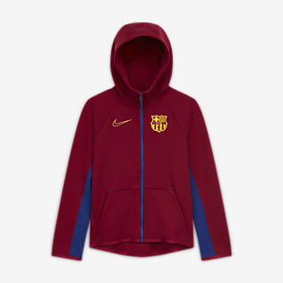 FC Barcelona Tech Fleece Felpa da calcio con cappuccio e zip a tutta lunghezza - Ragazzi