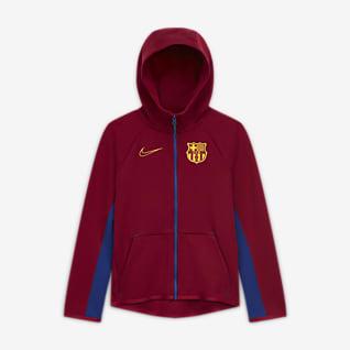 FC Barcelona Tech Fleece Fotbalová mikina s kapucí a zipem po celé délce pro větší děti