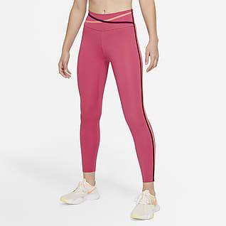 Nike Dri-FIT One 7/8-Tights mit mittelhohem Bund und Besatz für Damen