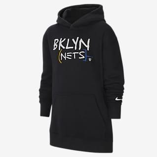 Brooklyn Nets City Edition Older Kids' Nike NBA Pullover Fleece Hoodie