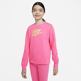 Nike Sportswear Mikina s kulatým výstřihem zfrancouzského froté pro větší děti (dívky)