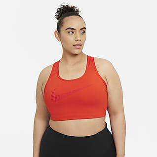 Nike Dri-FIT Swoosh Icon Clash Sport-BH mit mittlerem Halt ohne Polster (große Größe)