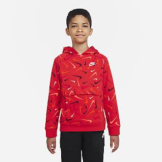 Nike Sportswear Club Sudadera con capucha sin cierre estampada para niños talla grande