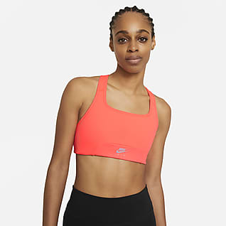 Nike Air Dri-FIT Swoosh Közepes tartást adó női sportmelltartó egyrészes betéttel és kulcslyuk alakú kivágással