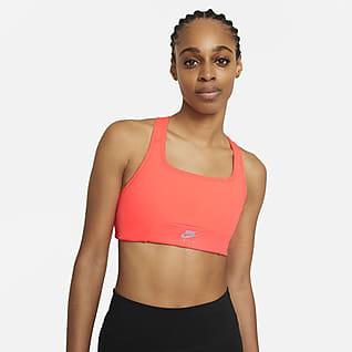Nike Air Dri-FIT Swoosh Sports-BH med innlegg i ett stykke, luftehull og middels støtte til dame