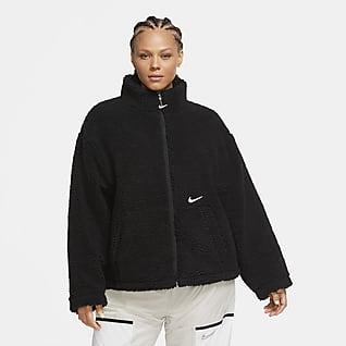 Nike Sportswear Swoosh Sherpa-Jacke für Damen (große Größe)