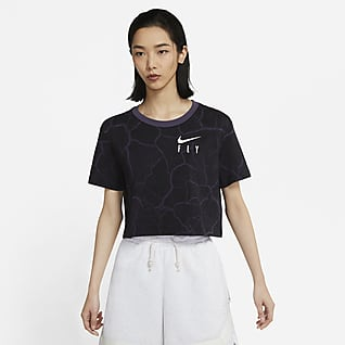 Nike Swoosh Fly เสื้อยืดบาสเก็ตบอลเอวลอยผู้หญิง