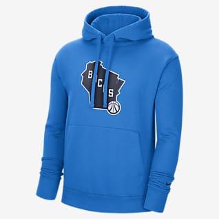 Milwaukee Bucks City Edition Logo Nike NBA-s belebújós, kapucnis férfipulóver