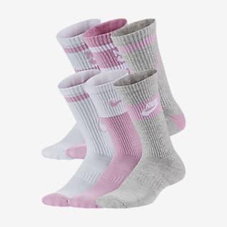 Nike Everyday Παιδικές κάλτσες μεσαίου ύψους με αντικραδασμική προστασία (έξι ζευγάρια)