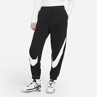 Nike Sportswear Swoosh Calças desportivas de lã cardada com corte prático para mulher