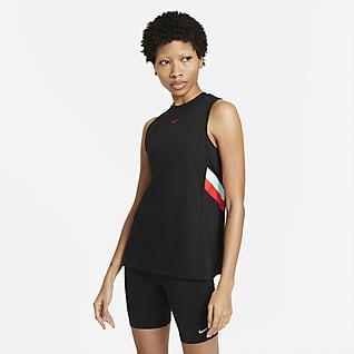 Nike Dri-FIT Damska koszulka treningowa bez rękawów z kontrastowymi pasami