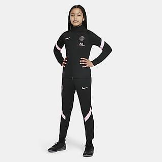 Paris Saint-Germain Strike (wersja wyjazdowa) Dres piłkarski dla dużych dzieci Nike Dri-FIT