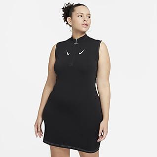 Nike Sportswear Swoosh Vestido de medio cierre sin mangas para mujer talla grande