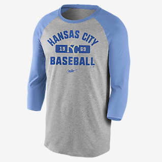 Nike Cooperstown Vintage Tri-Blend Raglan (MLB Kansas City Royals) Men's 3/4-Sleeve T-Shirt