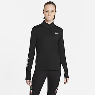 Nike Dri-FIT Tokyo Женская беговая футболка с молнией на половину длины