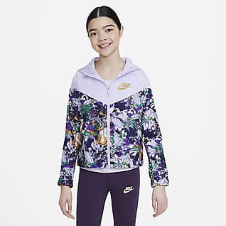 Nike Sportswear Windrunner Chamarra con estampado para niñas talla grande