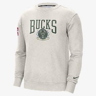 Milwaukee Bucks Courtside Men's Nike NBA Fleece Crew Sweatshirt