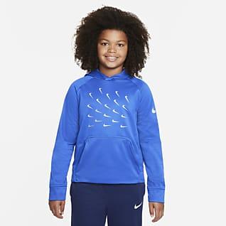Nike Therma-FIT Sudadera con gorro de entrenamiento con gráfico para niño talla grande (talla amplia)