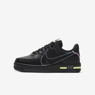 Boys Black Air Force 1 Low Top Shoes.