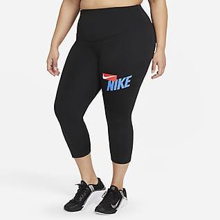 Nike One Normal Belli Bilek Üstü Grafikli Kadın Taytı (Büyük Beden)