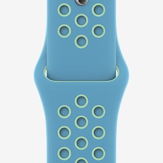 44mm Chlorine Blue/Green Glow Nike Sportarmband – Normalgröße