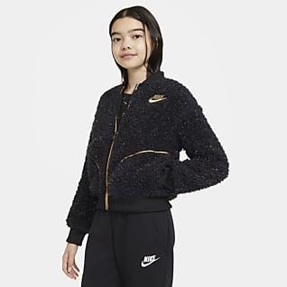 Nike Sportswear Jacka i sherpamaterial med hel dragkedja för ungdom (tjejer)