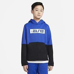 Nike Therma Elite Sudadera con capucha de básquetbol sin cierre para niño talla grande