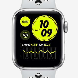 Apple Watch Nike Series 6 (GPS + Mobilfunk) mit Nike Sportarmband 44-mm-Aluminium-Gehäuse in Silver