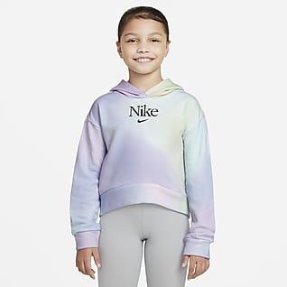 Nike Sportswear Kapucnis, belebújós francia frottír pulóver nagyobb gyerekeknek (lányok)