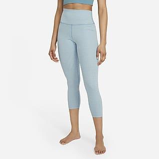 Nike Yoga 女款高腰短版格紋內搭褲