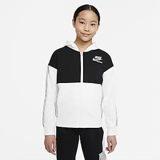 Nike Sportswear Heritage Sudadera con capucha de cierre completo de French Terry para niña talla grande