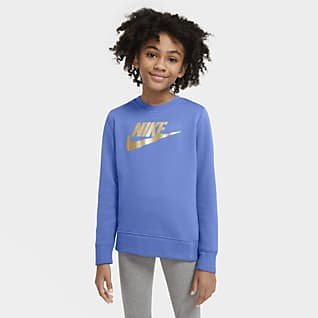 Nike Sportswear เสื้อคอกลมเฟรนช์เทรีเด็กโต (หญิง)