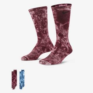 Nike Everyday Plus Κάλτσες μεσαίου ύψους με αντικραδασμική προστασία και εφέ tie-dye (δύο ζευγάρια)