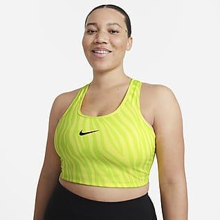 Nike Dri-FIT Swoosh Icon Clash Sujetador deportivo sin almohadilla de sujeción media talla grande para mujer