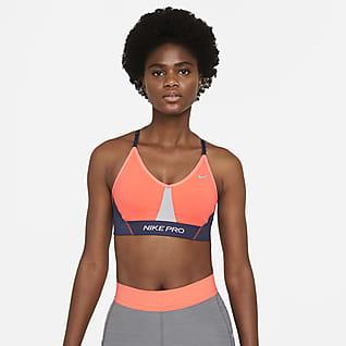 Nike Pro Dri-FIT Indy Bra deportivo de sujeción ligera acolchado con bloques de color para mujer