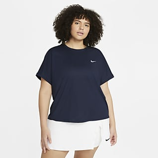 NikeCourt Dri-FIT Victory Женская теннисная футболка с коротким рукавом (большие размеры)