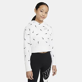 Nike Sportswear Sudadera con capucha corta sin cierre de tejido French Terry para niña talla grande