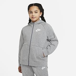Nike Sportswear Hættetrøje (udvidet størrelse) med lynlås i fuld længde til store børn (piger)