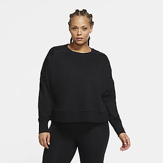 Nike Therma Maglia a girocollo corta da training in fleece con lacci (Plus size) - Donna