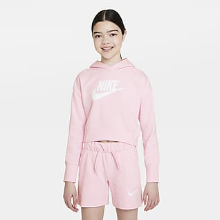 Nike Sportswear Club Felpa corta in French Terry con cappuccio - Ragazza