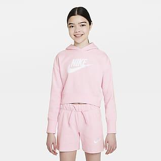 Nike Sportswear Club Zkrácená mikina skapucí zfrancouzského froté provětší děti (dívky)
