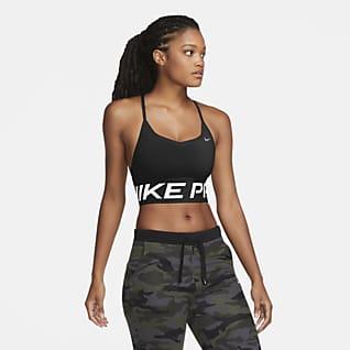 Nike Pro Indy Sutiã de desporto almofadado de linha comprida de suporte ligeiro para mulher