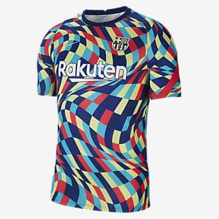 Μπαρτσελόνα Ανδρική κοντομάνικη ποδοσφαιρική μπλούζα προθέρμανσης