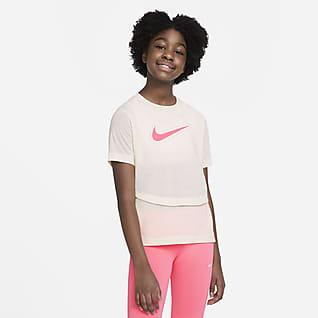 Nike Dri-FIT Trophy Trainingstop met korte mouwen voor meisjes