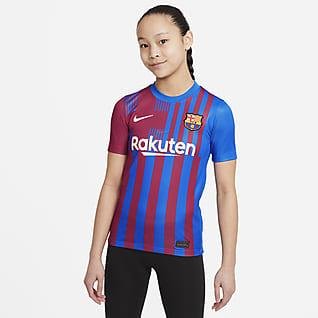 FC Barcelona Stadium 2021/22 (wersja domowa) Koszulka piłkarska dla dużych dzieci