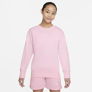 Nike Sportswear Club Fleece Kerek nyakkivágású pulóver nagyobb gyerekeknek (lányoknak)