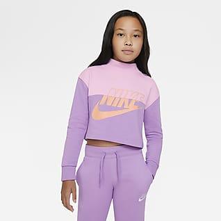 Nike Sportswear Camisola recortada em tecido moletão Júnior (Rapariga)