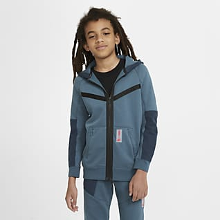 Nike Sportswear Air Max Fleecehættetrøje med lynlås i fuld længde til store børn (drenge)